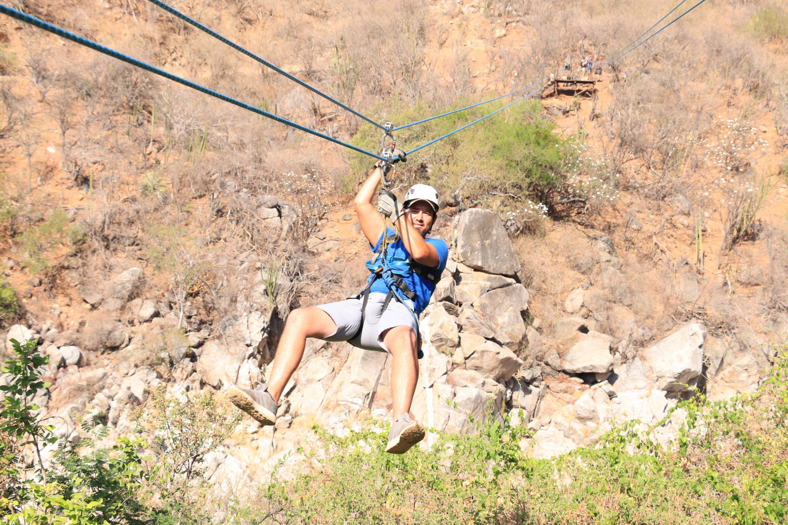 Man ziplining in Cabo. | Cabo, Mexico- The Best All Inclusive Vacation