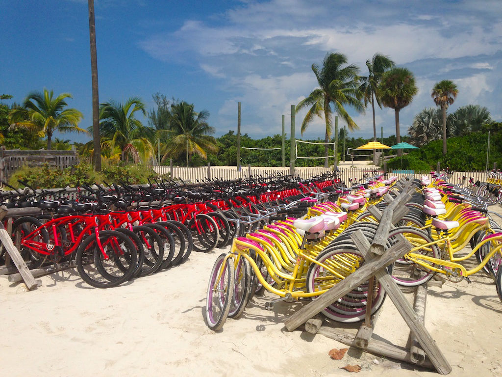 Hundreds of bikes at the bike rental shop. | Castaway Cay- Everything you need to know