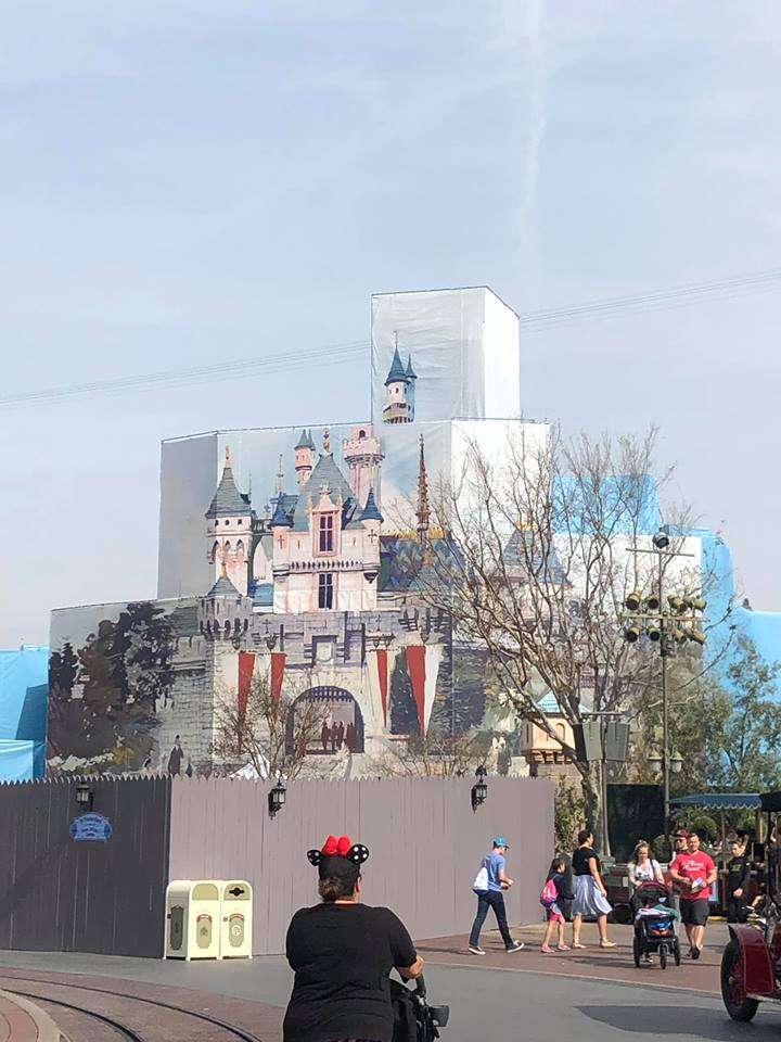 Disneyland castle under construction at Disneyland.   Disney World- What you need to know.