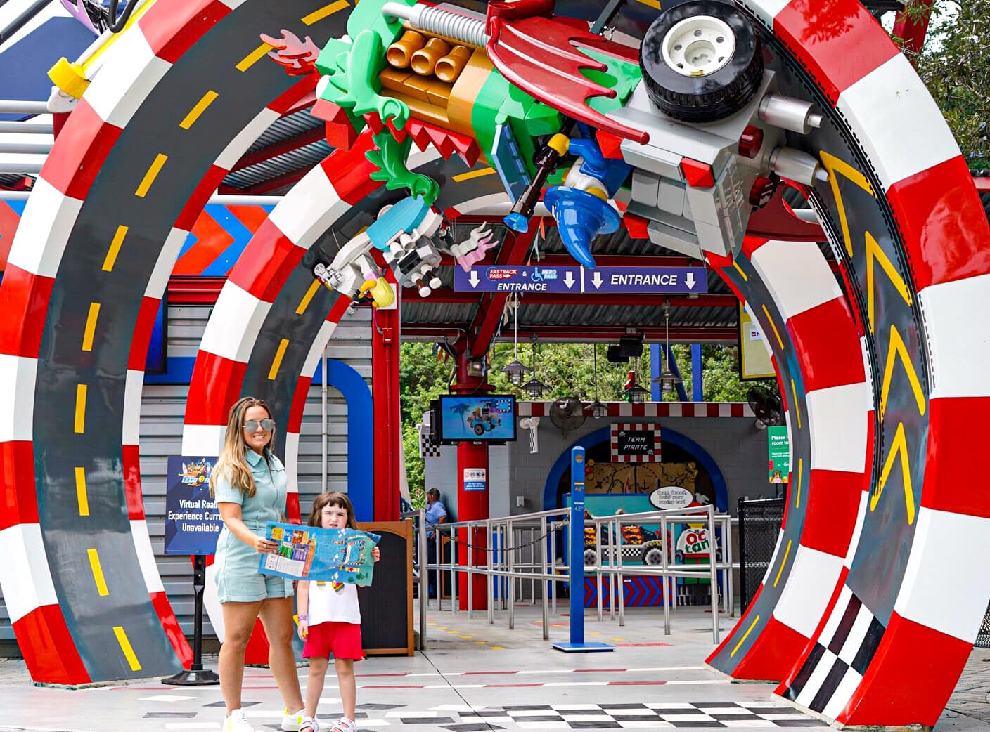 Woman and little girl standing outside entrance of LEGOLAND. | Guide to LEGOLAND Florida