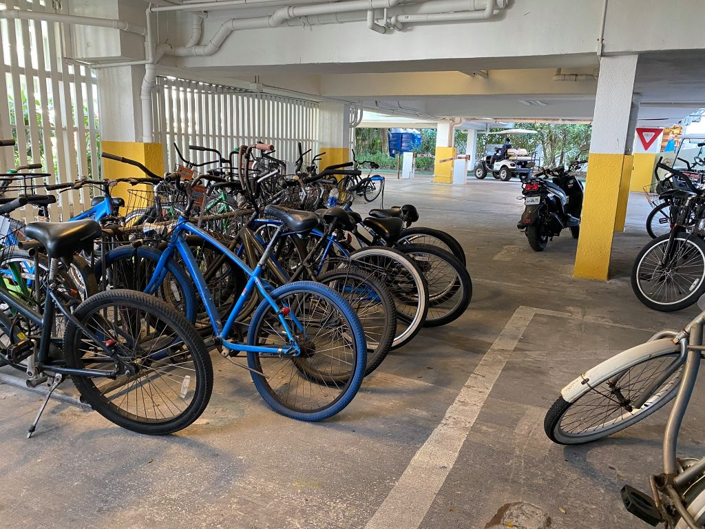 Bicycles parked in a parking garage in Key West. | What you to need to know about Key West