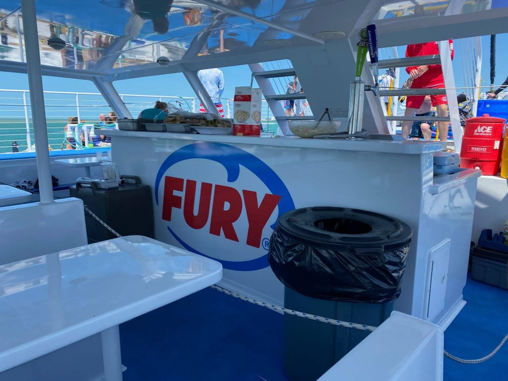 The inside set up of lunch on the Fury boat in Key West | Fury Water Adventures in Key West