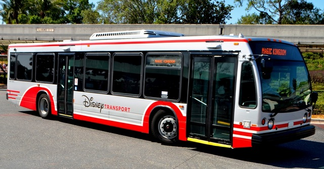 Large Disney transportation bus at Disney World.   Disney World- What you need to know.