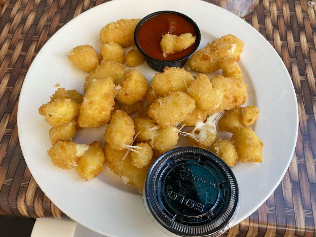 Plate of fried cheese and marinara sauce.   Where to Eat in Key West