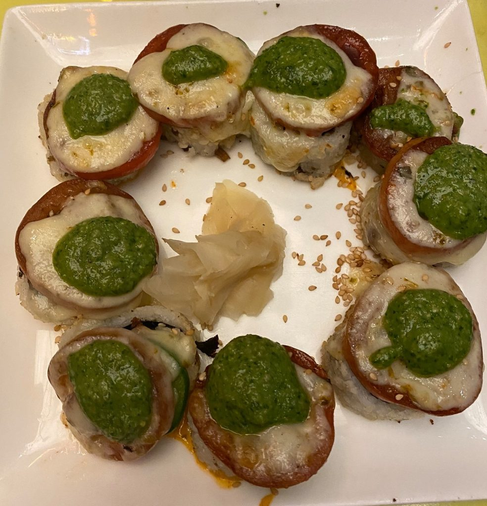 A plate of hamburger sushi in a circle shape on the plate. | What to eat at Universal's Citywalk in Orlando