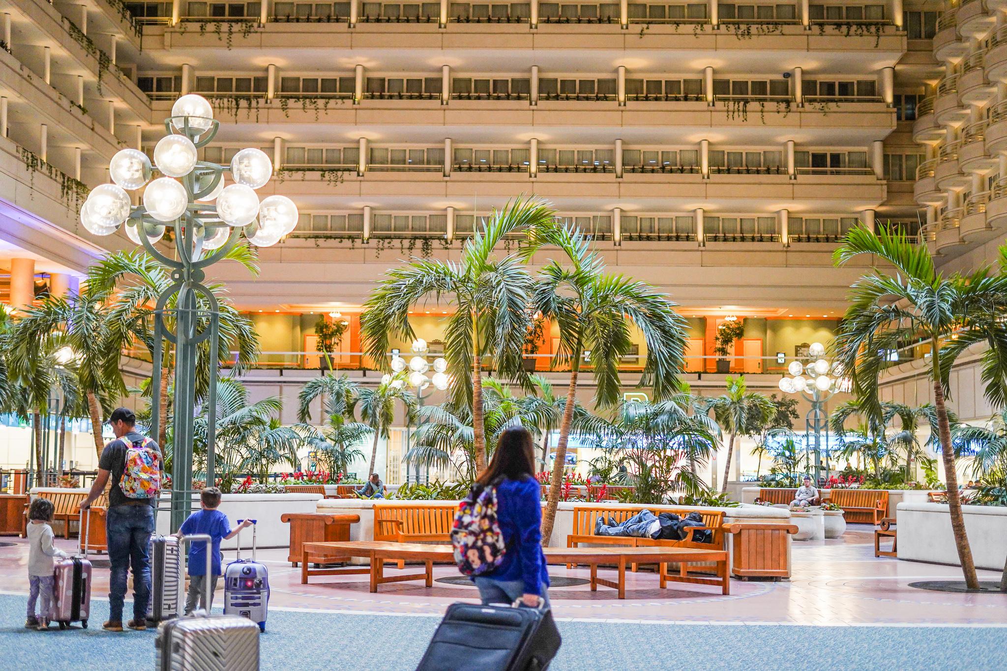 Hotel lobby inside Orlando airport.   Disney Dream Cruise