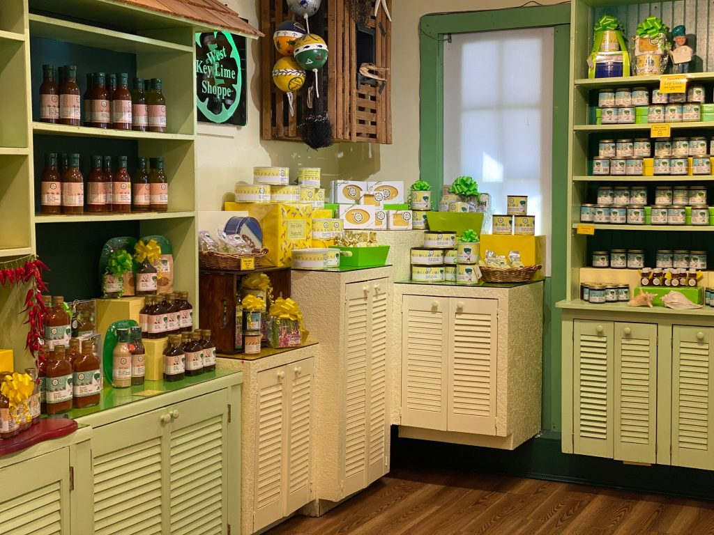 Shelves inside Kermits shop in Key West.   Where to Eat in Key West