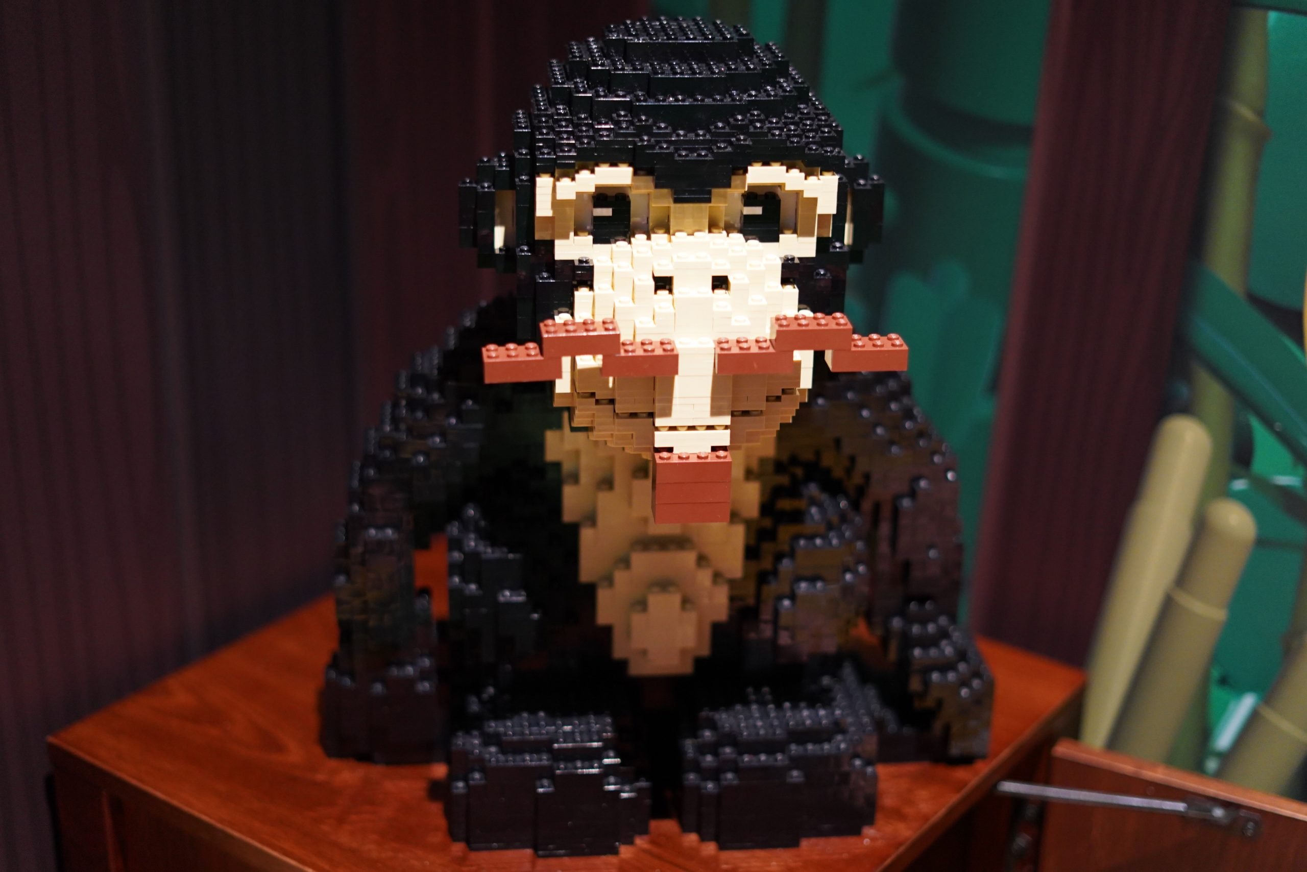 Monkey lego display at Pirate Island Hotel.   A Guide to LEGOLAND Hotels in Florida