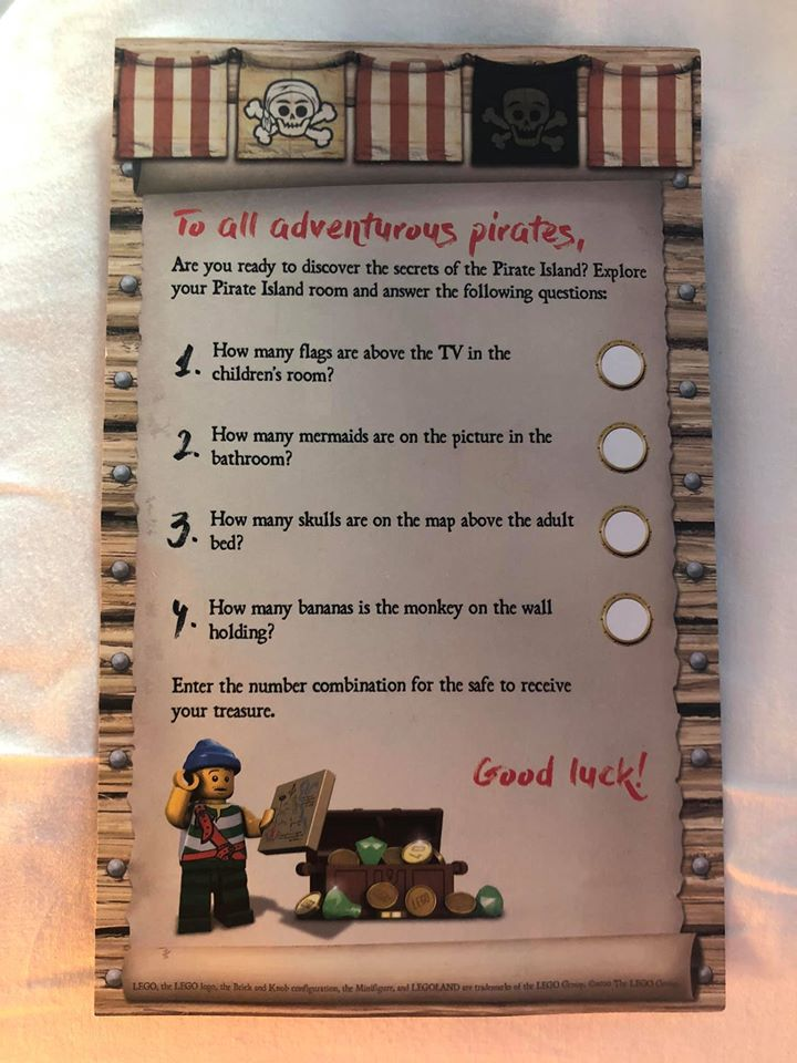 Treasure Hunt game questions at Pirate Island Hotel.   A Guide to LEGOLAND Hotels in Florida