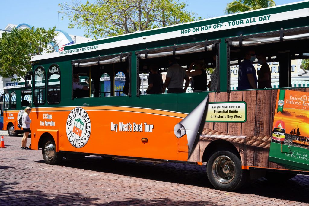 Old Town Trolley Tours trolley on street in Key West. | What you to need to know about Key West